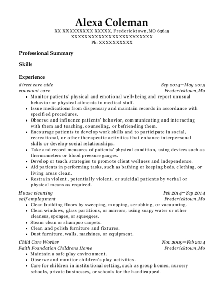 direct care aide resume template Missouri