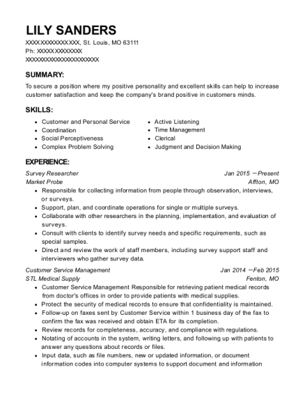 Survey Researcher resume template Missouri