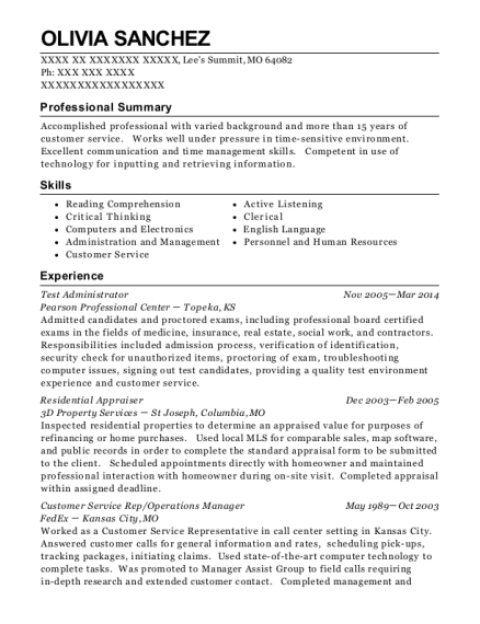Test Administrator resume sample Missouri