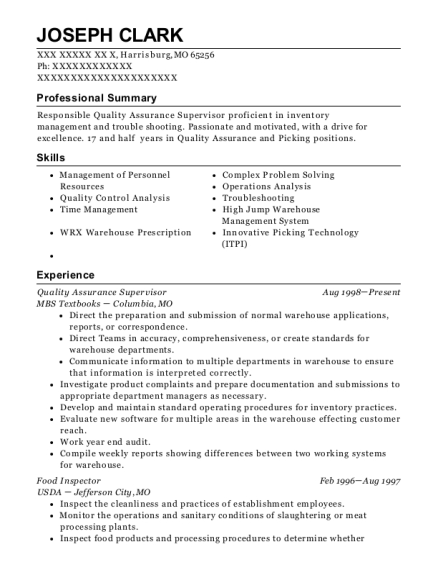 Quality Assurance Supervisor resume sample Missouri