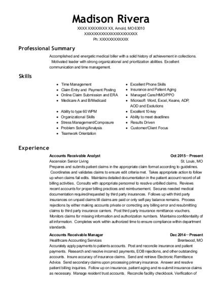 Ascension Senior Living Accounts Receivable Analyst Resume Sample