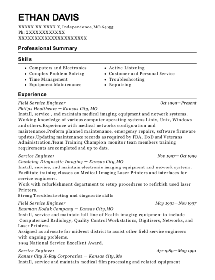 Field Service Engineer resume template Missouri