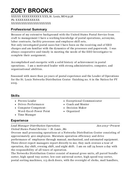 Lead Manager Distribution Operations resume format Missouri