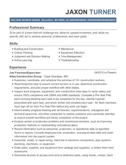 Job Foreman resume format Missouri