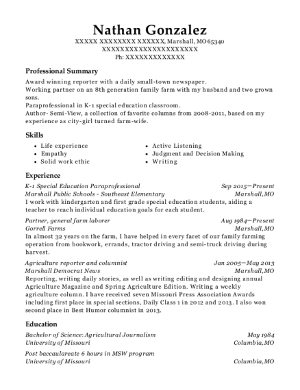 K 1 Special Education Paraprofessional resume format Missouri