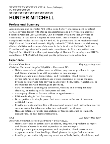 Personal Care Tech resume example Missouri