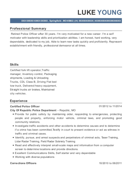 Certified Police Officer resume example Missouri