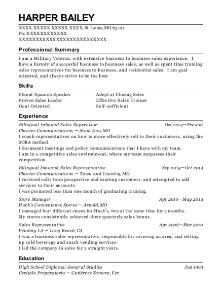 Bilingual Inbound Sales Supervisor resume example Missouri