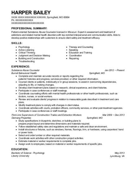 Substance Abuse Counselor resume format Missouri