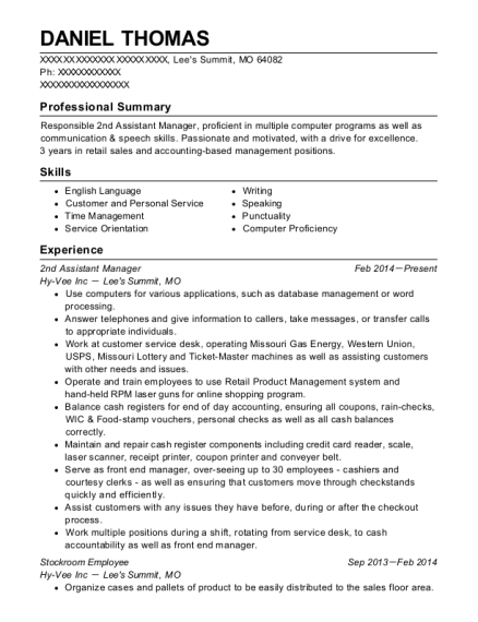 2nd Assistant Manager resume example Missouri