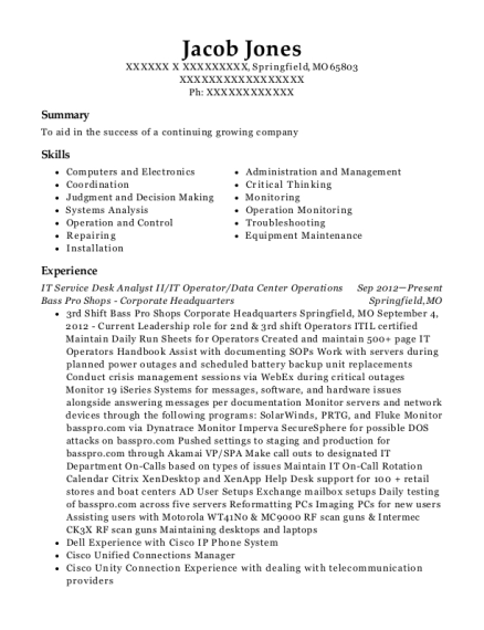 IT Service Desk Analyst II resume format Missouri