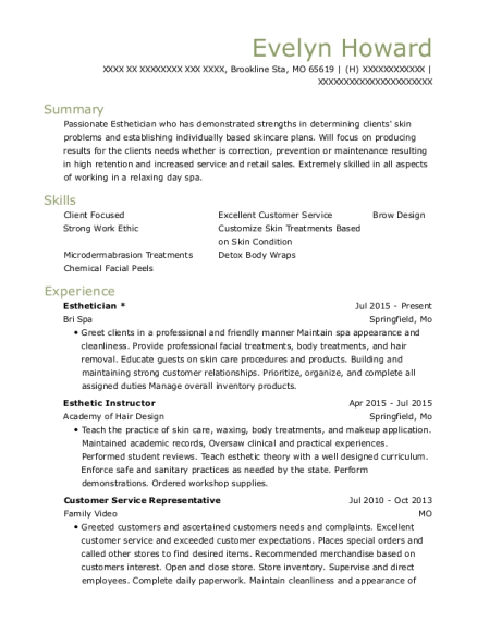 Esthetician resume sample Missouri