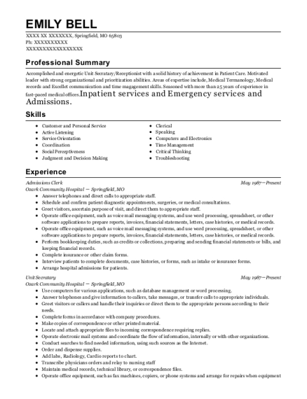 Admissions Clerk resume template Missouri