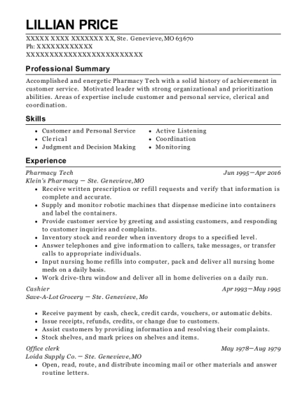 Pharmacy Tech resume example Missouri
