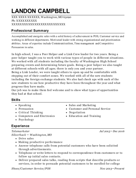 Telemarketer resume example Missouri