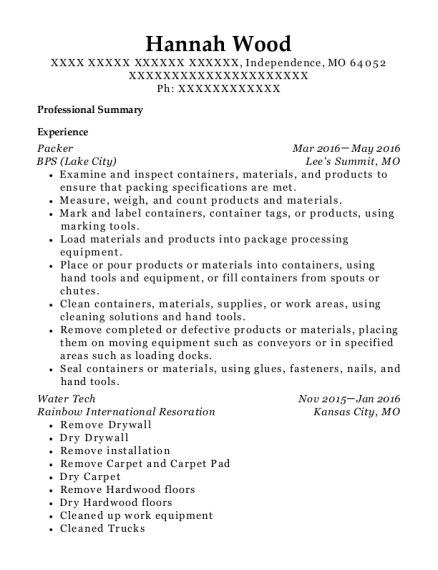 Packer resume format Missouri
