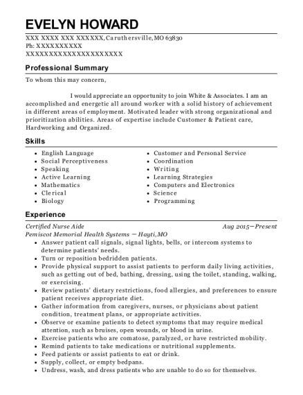 Certified Nurse Aide resume example Missouri