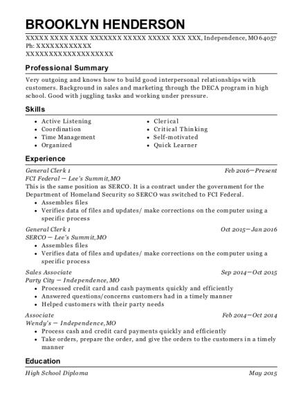 General Clerk 1 resume sample Missouri