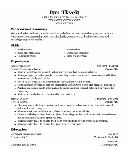 Sales Professional resume sample Missouri