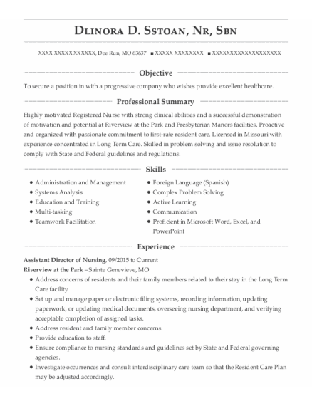 Assistant Director of Nursing resume sample Missouri