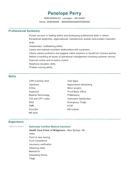Nationally Certified Medical Assistant resume example Missouri