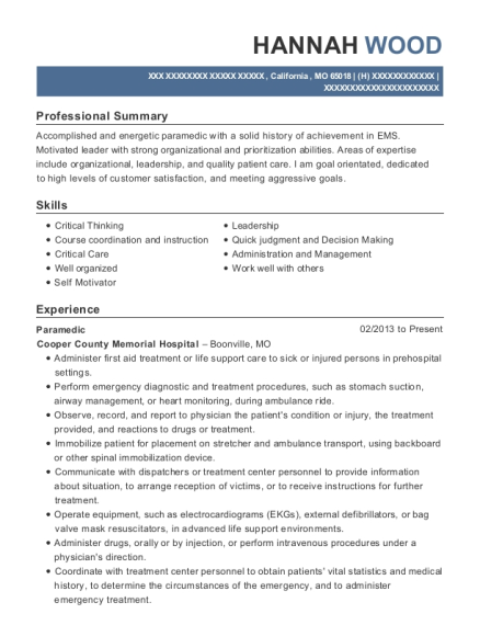 Paramedic resume sample Missouri