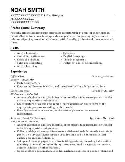Office Clerk resume example Missouri