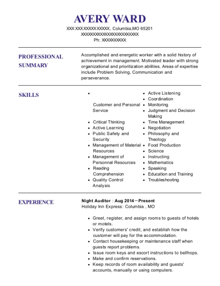 Night Auditor resume example Missouri