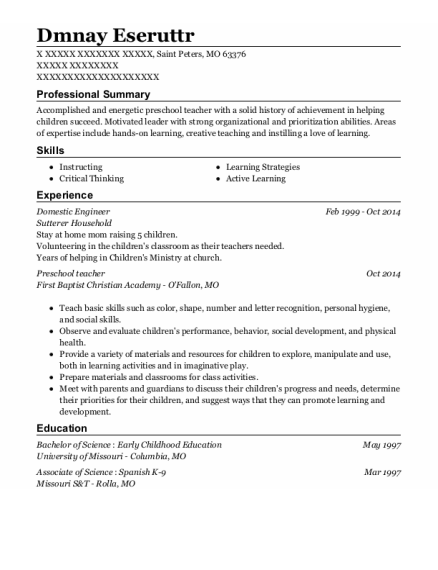 Domestic Engineer resume template Missouri