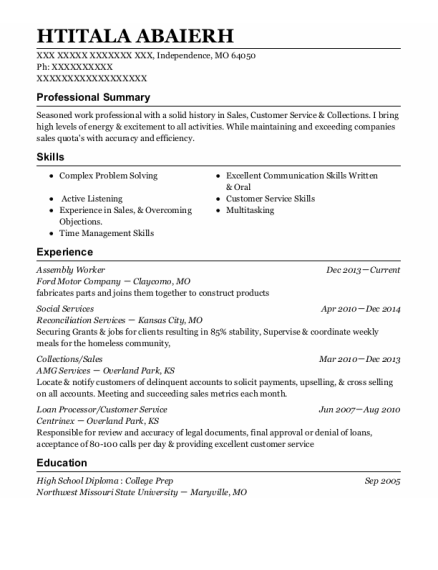 Assembly Worker resume example Missouri