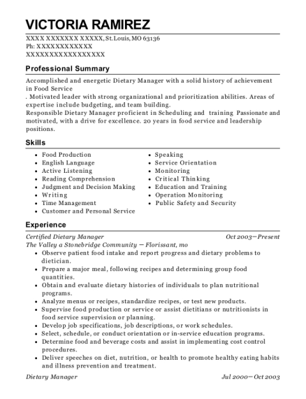 Certified Dietary Manager resume format Missouri