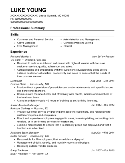 Personal Banker 1 resume sample Missouri