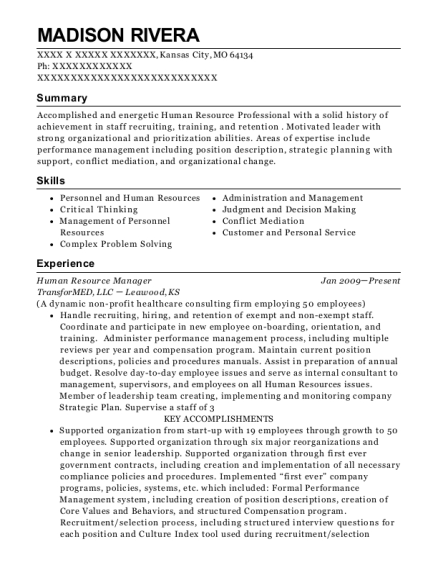 Human Resource Manager resume format Missouri