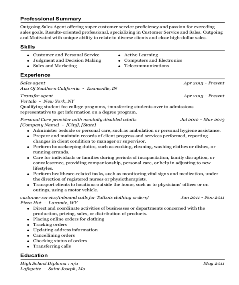 Sales Agent resume example Missouri