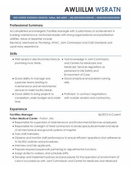 Facilities Manager resume sample Missouri
