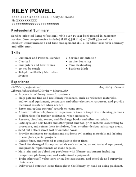 LMC Paraprofessional resume example Missouri