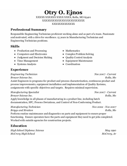 Engineering Technician resume example Missouri