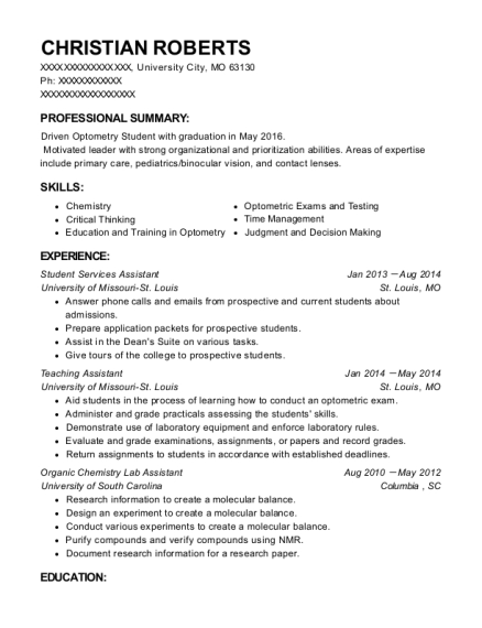 Student Services Assistant resume sample Missouri
