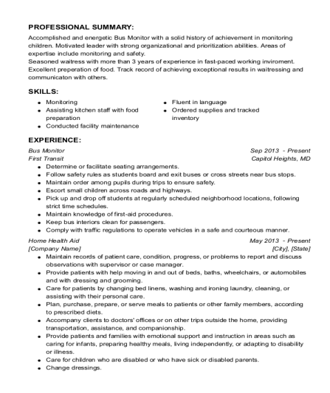 Bus Monitor resume sample Missouri