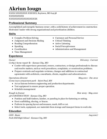 Owner resume template Missouri