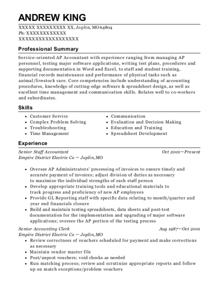 Senior Staff Accountant resume format Missouri