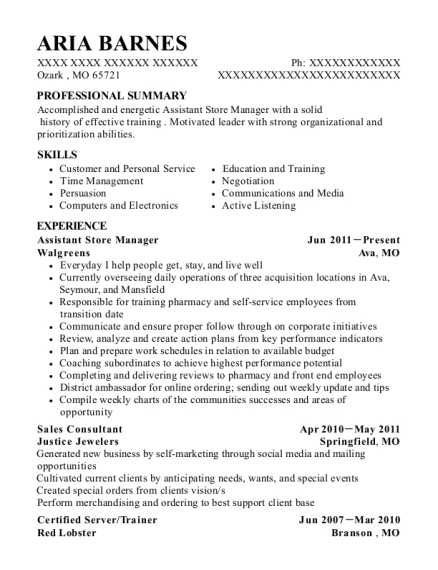 Assistant Store Manager resume sample Missouri
