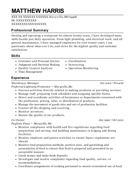 Warehouse Manager resume template Missouri