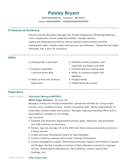 Operations Manager resume example Missouri