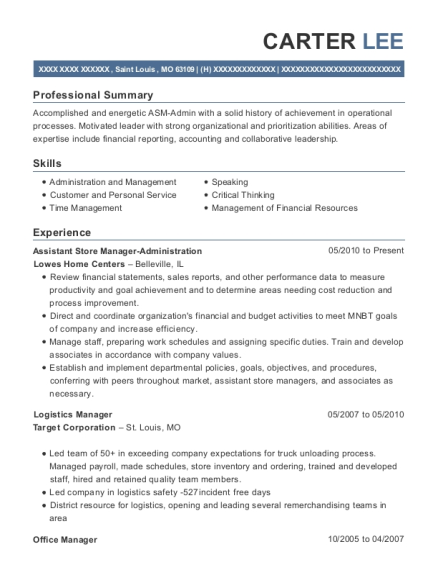 Assistant Store Manager Administration resume format Missouri