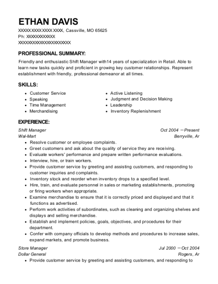 Shift Manager resume template Missouri