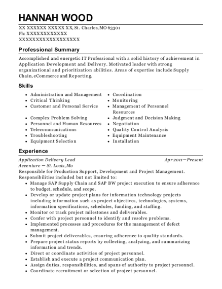 Application Delivery Lead resume format Missouri