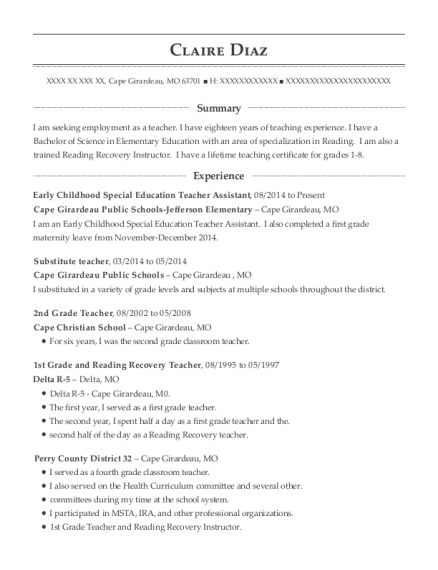 Early Childhood Special Education Teacher Assistant resume example Missouri