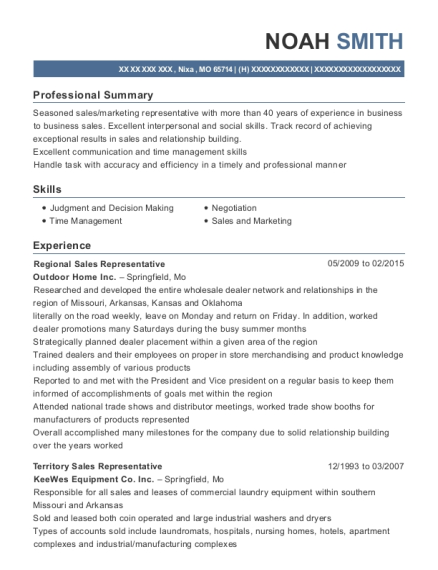 Regional Sales Representative resume template Missouri
