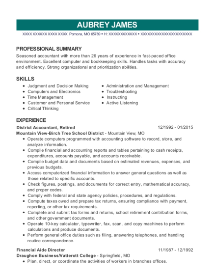 District Accountant resume sample Missouri